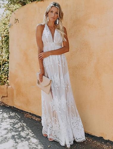 Γυναικεία Φόρεμα ριχτό από τη μέση και κάτω Μακρύ φόρεμα Ανθισμένο Ροζ Βαθυγάλαζο Λευκό Αμάνικο Συμπαγές Χρώμα Εξώπλατο Δαντέλα Άνοιξη Καλοκαίρι Λαιμόκοψη V Κομψό Καθημερινό Γιορτή Πάρτι 2021 Τ M L XL
