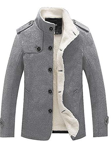 طوق الوقوف للرجال مزيج واحد الصدر معطف البازلاء مع الصوف مبطن