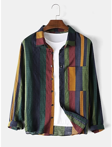 Men\'s Shirt Other Prints Color Block Patchwork Long Sleeve Daily Tops Basic Casual / Daily Beach Button Down Collar Green