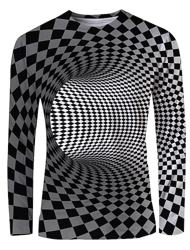 Hombre Camiseta Impresion 3D Grafico de impresion en 3D Estampado Manga Larga Diario Tops Basico Elegante Escote Redondo Negro / Blanco