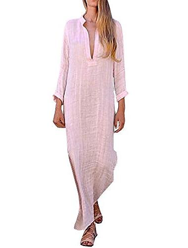 Γυναικεία Φόρεμα ριχτό Μακρύ φόρεμα Ροζ Ανοικτό Μπλε Απαλό Μεγάλο, κόκκινο Κίτρινο Μακρυμάνικο Συμπαγές Χρώμα Άνοιξη Καλοκαίρι Βαθύ V Καθημερινό Σέξι Φαρδιά 2021 Τ M L XL 2XL
