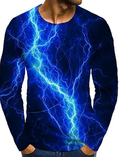 Bărbați Tricou Cămașă Tipărire 3D Grafic #D Mărime Plus Imprimeu Manșon Lung Zilnic Topuri Rotund Albastru piscină / Sport