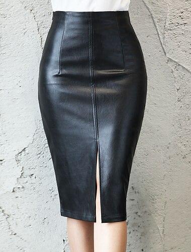 dámská rozdělená dámská kožená sukně s polovičním tělem z kožené sukně s bokem (xxx-velká, černá)
