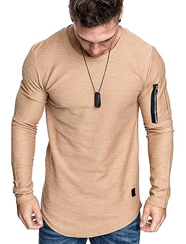 miesten muoti urheilullinen t-paita crewneck-paidat yksivärinen villapaita musta