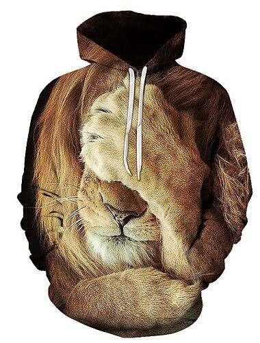 Муж. Толстовка с капюшоном и пуловером Графика Лев Капюшон Повседневные выходные 3D печать На каждый день Толстовки Толстовки Длинный рукав 1# 2# Цвет радуги