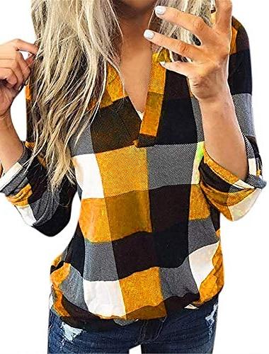 여성 캐주얼 롤업 긴 소매 튜닉 v 넥 버튼 체크 무늬 블라우스 슬림 셔츠 탑스 오렌지