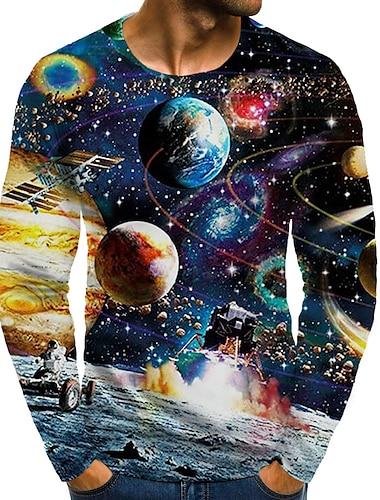 Homens Camiseta Camisa Social Impressao 3D Grafico Tamanhos Grandes Estampado Manga Longa Diario Blusas Decote Redondo Arco-iris / Esportes