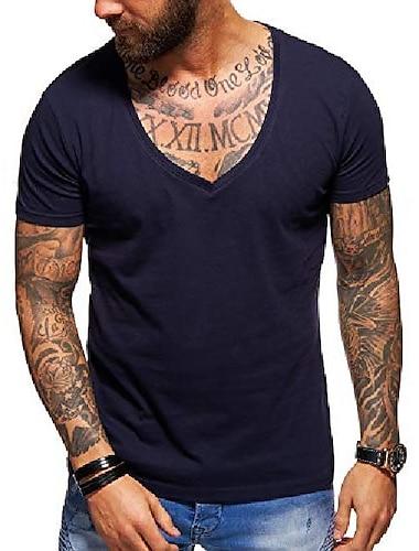 חולצת טריקו גברים בסיסי צווארון וי עמוק בצבע אחיד מזדמן מזדמן אופנה אימון כושר כושר פרמיום מזדמן