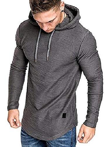 sudaderas con capucha de gimnasio para hombres camisetas de entrenamiento muscular camiseta de manga larga camisas con capucha ajustadas gris medio