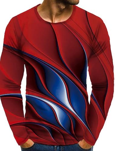 Bărbați Tricou Cămașă Tipărire 3D Grafic #D Mărime Plus Imprimeu Manșon Lung Zilnic Topuri Rotund Roșu-aprins / Sport