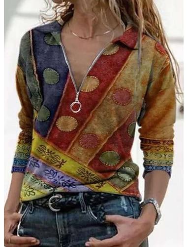여성용 블라우스 셔츠 기하학적 보호 긴 소매 지퍼 셔츠 카라 베이직 보호 탑스 푸른 퍼플 옐로우