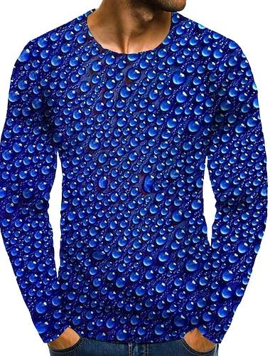Bărbați Tricou Tipărire 3D Grafic #D Mărime Plus Imprimeu Manșon Lung Zilnic Topuri Albastru piscină