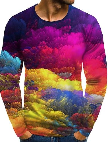 Bărbați Tricou Tipărire 3D Grafic #D Mărime Plus Imprimeu Manșon Lung Zilnic Topuri Curcubeu