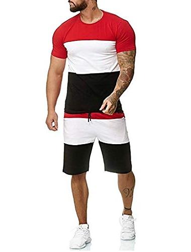 randiga patchwork jogging set för män, kortärmade toppar + dragsko korta byxor sportdräkt träningsoverall svettdräkter av leegor red