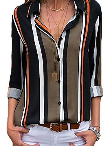 lannychic 여성용 스트라이프 버튼 다운 셔츠 롤업 슬리브 탑스 v 넥 캐주얼 작업 블라우스 튜닉-그레이 S
