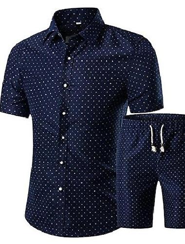 mænds afslappet kortærmet skjorte og shorts trykt 2 stykker sæt tøj 8 l