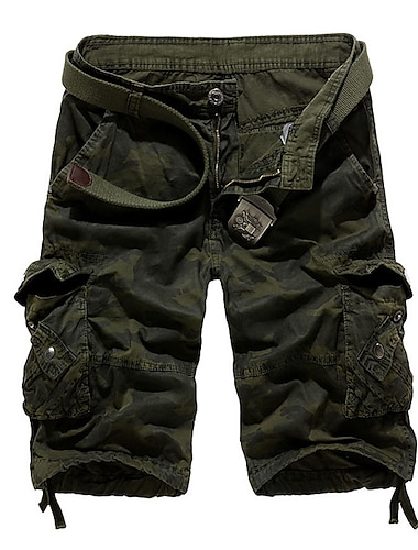 short cargo pour hommes demi-pantalon short tactique camouflage decontracte multi-poches sur le genou vetements d\'exterieur kaki 40