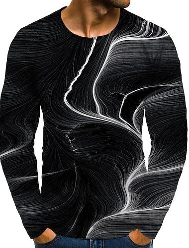 Bărbați Tricou Cămașă Tipărire 3D Grafic #D Mărime Plus Imprimeu Manșon Lung Zilnic Topuri Rotund Negru / Sport