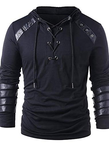 ανδρικό μπουφάν με κουκούλα ανδρικά χειμερινά κορδόνια κορδόνια vintage δερμάτινο συνονθύλευμα μακρυμάνικο μπλουζάκι με κουκούλα μαύρο