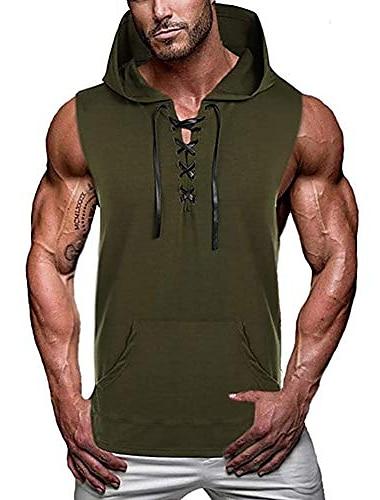 canottiera sportiva da uomo con lacci muscolosi con cappuccio allenamento tagliata magliette senza maniche felpa con cappuccio da allenamento per bodybuilding verde militare l