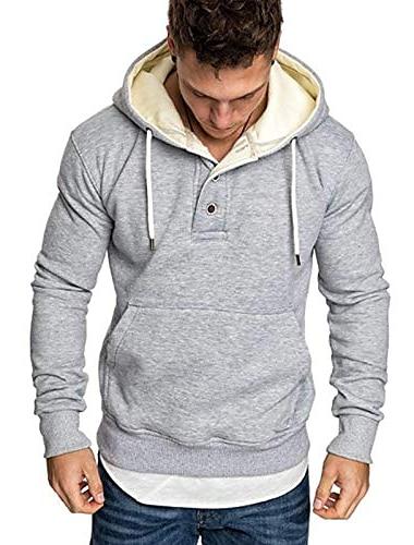 мужские спортивные футболки с капюшоном - повседневные пуловеры с длинным рукавом и пуговицами светло-серого цвета