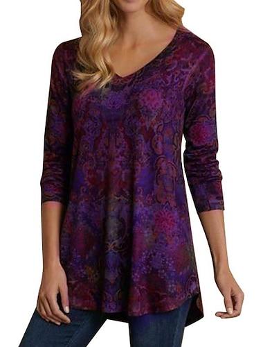 여성용 플러스 사이즈 블라우스 페플럼 셔츠 플로럴 컬러 블럭 긴 소매 패치 워크 프린트 V 넥 탑스 루즈핏 푸른 퍼플 와인