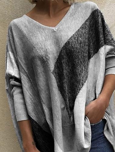 여성용 블라우스 셔츠 컬러 블럭 긴 소매 패치 워크 프린트 V 넥 탑스 퍼플 루비 오렌지