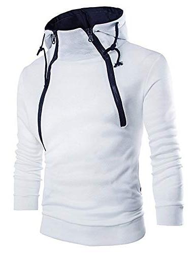 Sudaderas con capucha para hombre, manga larga, cremallera, cuello alto, sudadera, chaqueta, abrigo (blanco, 3xl)