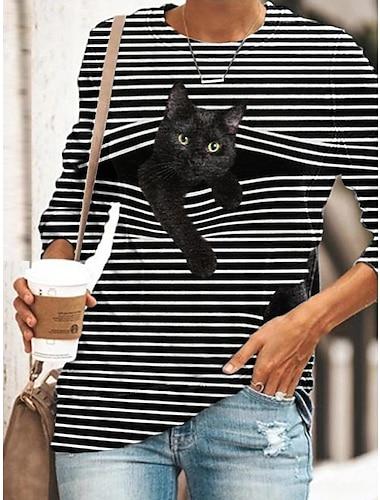 Dámské předvečer Všech svatých Tunika Tričko Proužky Kočka 3D  komiks Dlouhý rukáv Tisk Kulatý Základní Topy Vodní modrá Žlutá Šedá