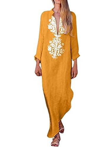 Γυναικεία Φόρεμα ριχτό Μακρύ φόρεμα Μπλε Απαλό Κίτρινο Γκρίζο Χακί Μακρυμάνικο Στάμπα Φθινόπωρο Άνοιξη Λαιμόκοψη V Καθημερινά 2021 Τ M L XL 2XL 3XL / Βαμβάκι / Βαμβάκι