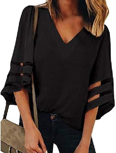 γυναικείο πουκάμισο με λαιμόκοψη 3 4 καμπάνα μανίκι συνονθύλευμα casual χαλαρό καλοκαιρινό μπλουζάκι (μαύρο, μικρό)