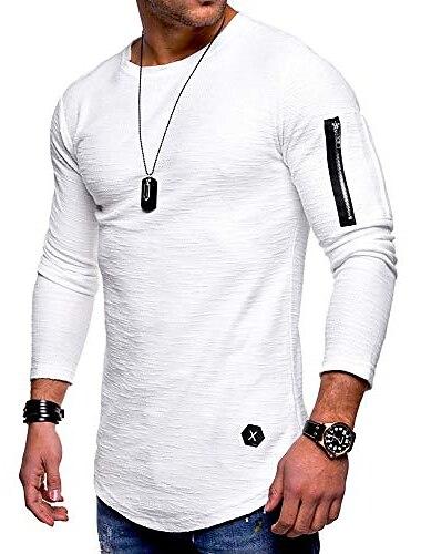 miesten collegepaidat muoti urheilullinen yksivärinen slim fit urheilu kevyt pitkähihainen villapaita valkoinen xxl