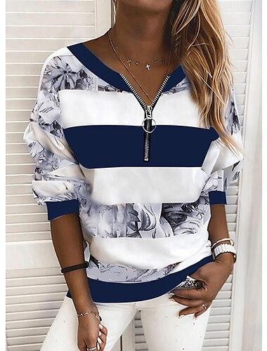 여성용 블라우스 셔츠 줄무늬 컬러 블럭 긴 소매 프린트 V 넥 탑스 푸른 옐로우 블러슁 핑크