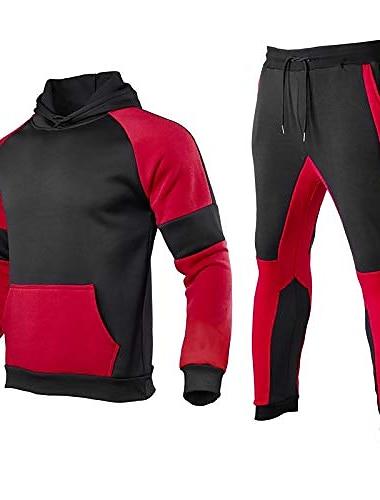 herr träningsdräkter uppsättningar färgblock huvtröja joggers joggingbyxor casual sportkläder 2-deliga tröjor (röd, xl)