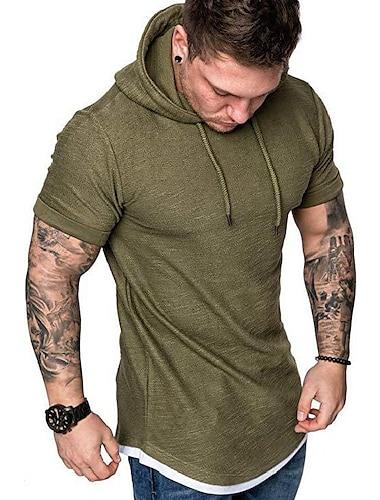 мужские модные повседневные футболки с капюшоном с коротким рукавом однотонные летние футболки с капюшоном - 5 цветов серый