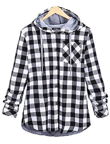 여성용 플란넬 체크 셔츠 풀 라인 체크 버튼 다운 후드 셔츠 (회색, x- 소형)