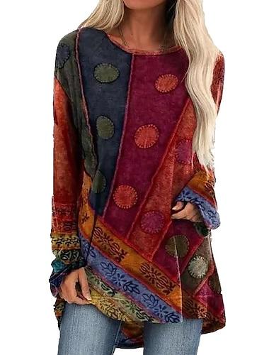 여성용 티셔츠 드레스 미니 드레스 푸른 퍼플 클로버 루비 긴 소매 컬러 블럭 패치 워크 가을 라운드 넥 우아함 섹시 2021 S M L XL XXL 3XL