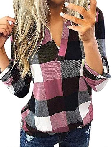 여성용 체크 무늬 셔츠 v 넥 불규칙한 밑단 캐주얼 탑 프린트 긴 소매 블라우스