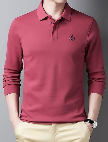 Hombre Camiseta de golf Camiseta de tenis no imprimible Un Color Manga Larga Diario Tops Chic de Calle Azul Piscina Amarillo Gris