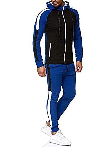 Мужской спортивный костюм, комплект из 2 предметов, толстовка с капюшоном на молнии с длинным рукавом и брюками для бега, спортивный костюм