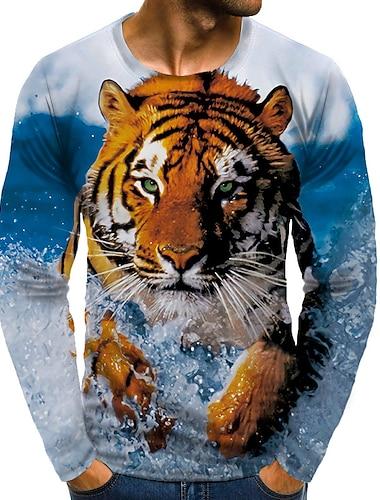 Муж. Футболка Рубашка 3D печать Графика 3D Большие размеры С принтом Длинный рукав Повседневные Верхушки Круглый вырез Желтый / Спорт