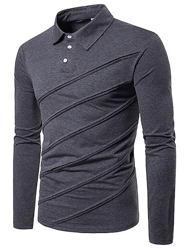Hombre Camiseta de golf Camiseta de tenis no imprimible Un Color Manga Larga Diario Tops Algodon Chic de Calle Blanco Gris Claro Negro