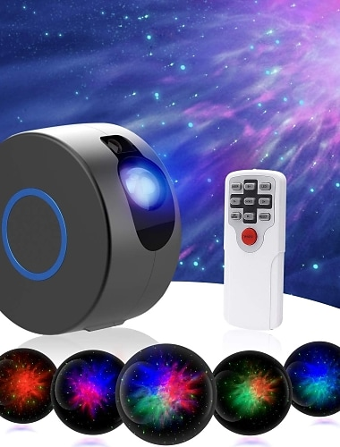 Galaxy Projector 2 in 1 Aurora Starry Sky Projector for Christmas Decoration LED Projector Galaxy Ocean Nebula Lamp with Remote Control 7 Colors Night Light Christmas Gift Landscape Light