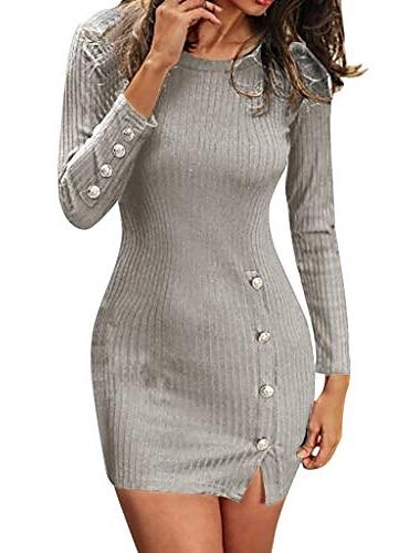 여성 니트 드레스 긴 스웨터 드레스 겨울 칵테일 드레스 아름다운 단추 긴 소매 분할 캐주얼 회색