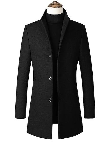 trench bărbătesc amestec slim fit top coat business cu un singur piept de afaceri pardesiu negru-fleece mare