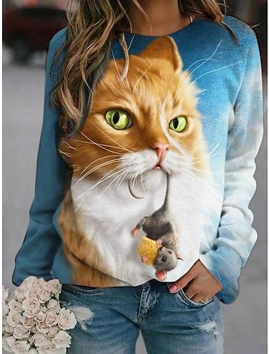 여성용 후드 맨투맨 스웻티셔츠 고양이 동물 무늬 프린트 3D 인쇄 3D 프린트 후드 스웨트 셔츠 루즈핏 푸른