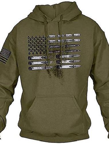 bărbați cu glugă mânecă lungă drapel american vintage glonț grafic cu șnur cu glugă pulover cu hanorace verde armată