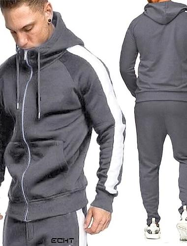 спортивные костюмы повседневное joggerset с круглым вырезом и длинным рукавом на молнии толстовка с капюшоном + брюки для бега спортивный костюм