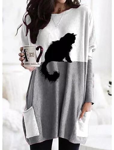 여성용 시프트 드레스 맥시 드레스 긴 소매 프린트 고양이 컬러 블럭 패치 워크 프린트 가을 겨울 캐쥬얼 2021 그레이 S M L XL XXL 3XL