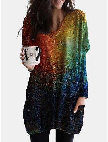 Női Váltó ruha Térdig érő ruha Medence Lóhere Hosszú ujj Nyomtatott Színátmenet Nyomtatott Ősz V-alakú Alkalmi Bő 2021 S M L XL XXL 3XL